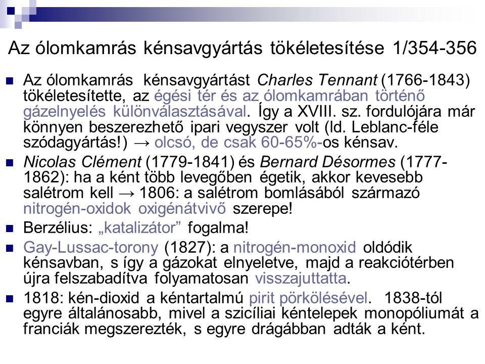 Az ólomkamrás kénsavgyártás tökéletesítése 1/354-356 Az ólomkamrás kénsavgyártást Charles Tennant (1766-1843) tökéletesítette, az égési tér és az ólomkamrában történő gázelnyelés különválasztásával.