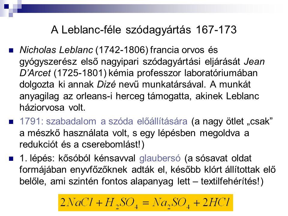 A Leblanc-féle szódagyártás 167-173 Nicholas Leblanc (1742-1806) francia orvos és gyógyszerész első nagyipari szódagyártási eljárását Jean D'Arcet (1725-1801) kémia professzor laboratóriumában dolgozta ki annak Dizé nevű munkatársával.