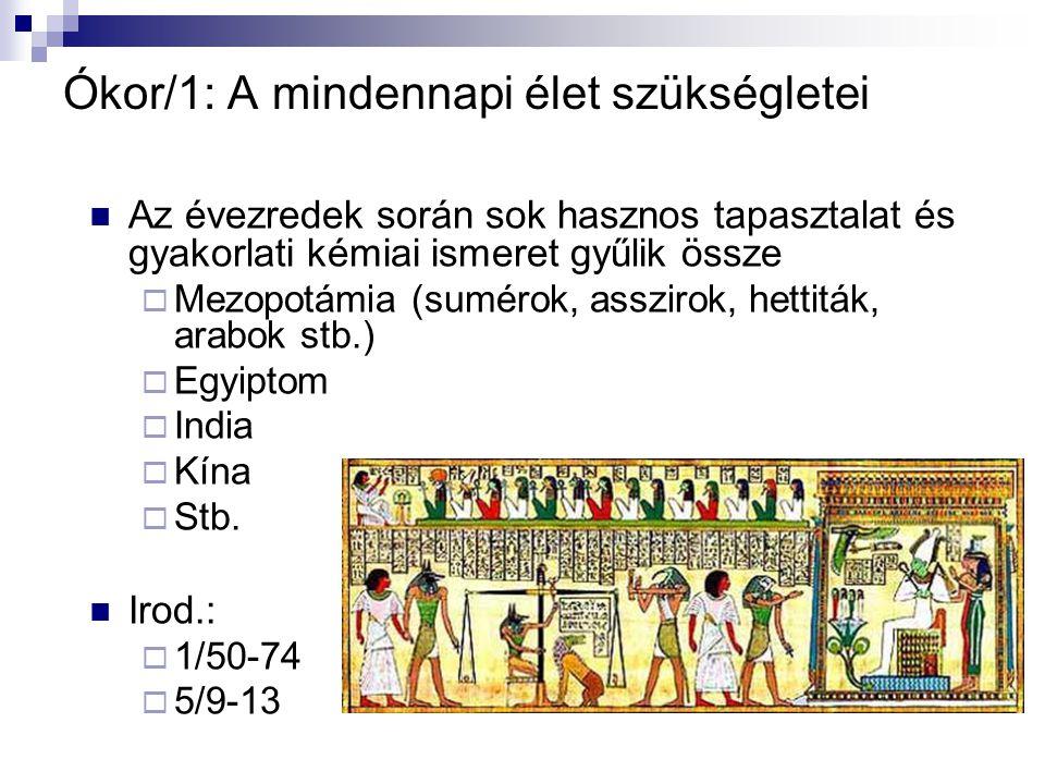 Ókor/1: A mindennapi élet szükségletei Az évezredek során sok hasznos tapasztalat és gyakorlati kémiai ismeret gyűlik össze  Mezopotámia (sumérok, as