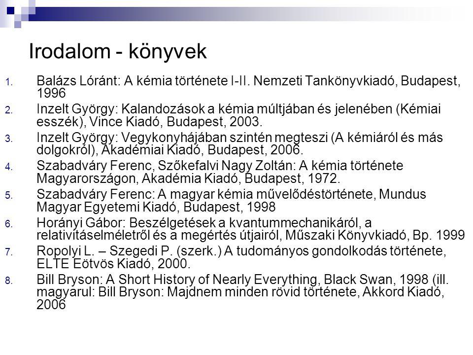 Irodalom - könyvek 1. Balázs Lóránt: A kémia története I-II. Nemzeti Tankönyvkiadó, Budapest, 1996 2. Inzelt György: Kalandozások a kémia múltjában és
