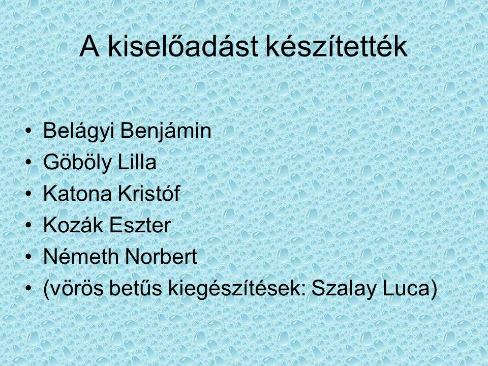 A kiselőadást készítették Belágyi Benjámin Göböly Lilla Katona Kristóf Kozák Eszter Németh Norbert (vörös betűs kiegészítések: Szalay Luca)