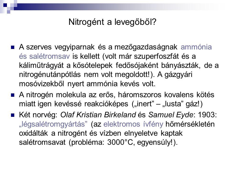 """Ammóniaszintézis Adolf Frank és Nikodem Caro 1901: kalcium-karbid reakciója nitrogénnel 1000 °C-on """"mésznitrogén műtrágya (kalcium-ciánamid)."""