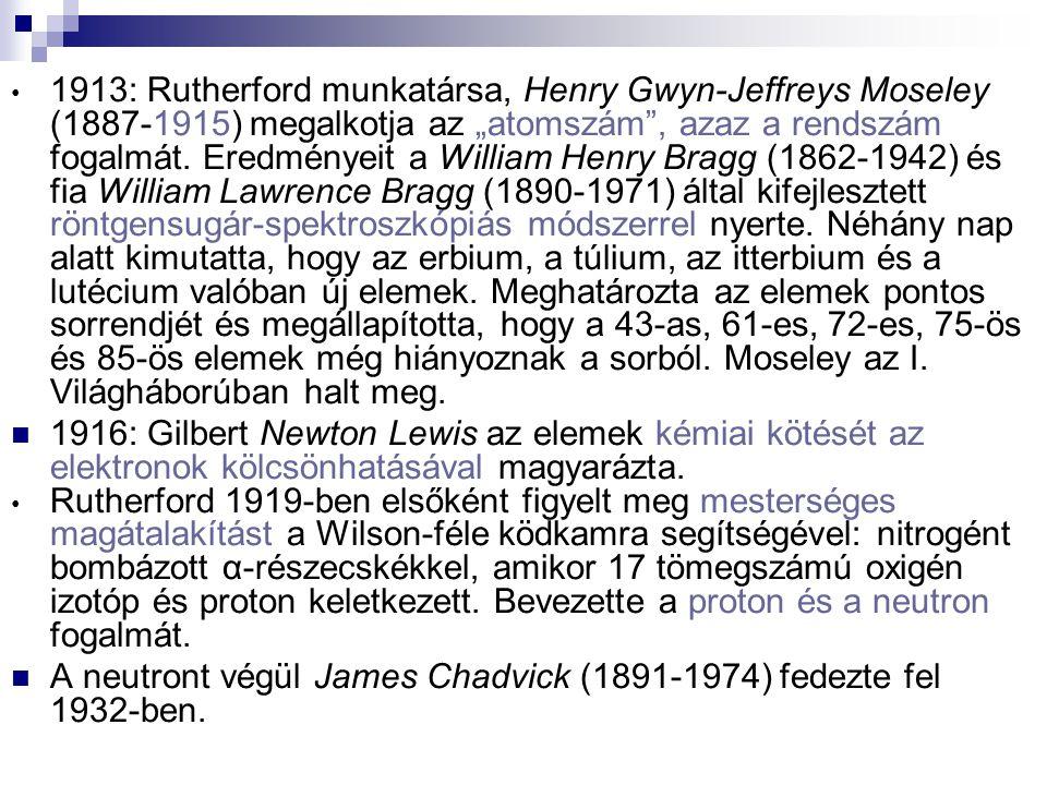 """1913: Rutherford munkatársa, Henry Gwyn-Jeffreys Moseley (1887-1915) megalkotja az """"atomszám"""", azaz a rendszám fogalmát. Eredményeit a William Henry B"""