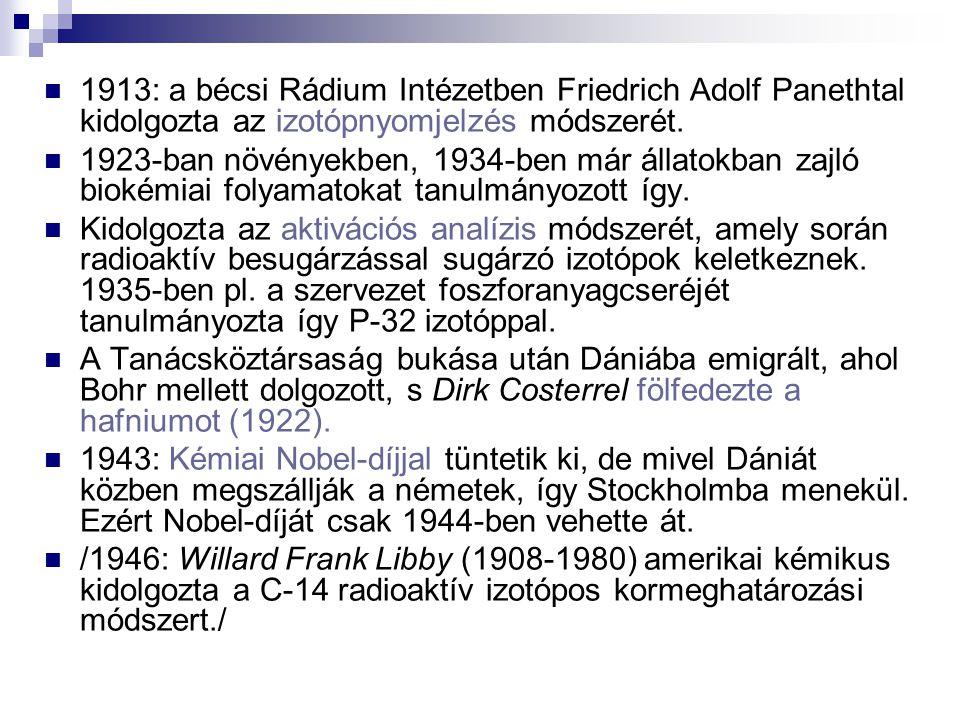 1913: a bécsi Rádium Intézetben Friedrich Adolf Panethtal kidolgozta az izotópnyomjelzés módszerét. 1923-ban növényekben, 1934-ben már állatokban zajl