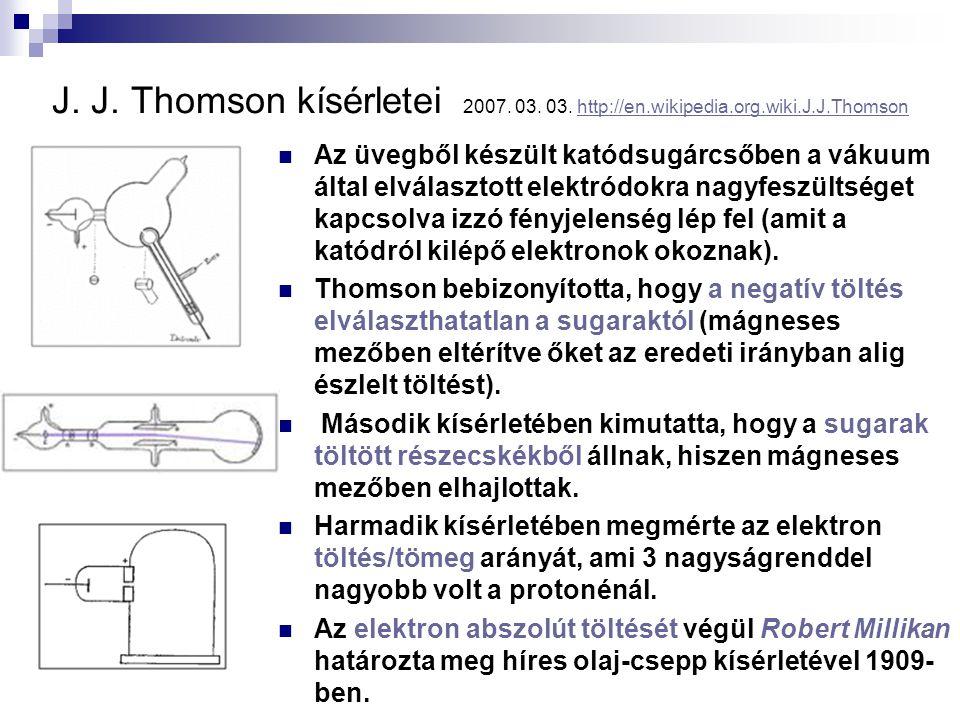 J. J. Thomson kísérletei 2007. 03. 03. http://en.wikipedia.org.wiki.J.J.Thomsonhttp://en.wikipedia.org.wiki.J.J.Thomson Az üvegből készült katódsugárc