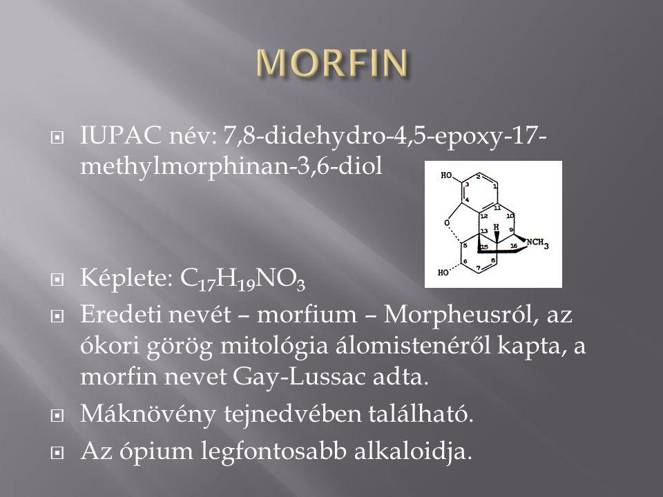  IUPAC név: 7,8-didehydro-4,5-epoxy-17- methylmorphinan-3,6-diol  Képlete: C 17 H 19 NO 3  Eredeti nevét – morfium – Morpheusról, az ókori görög mitológia álomistenéről kapta, a morfin nevet Gay-Lussac adta.
