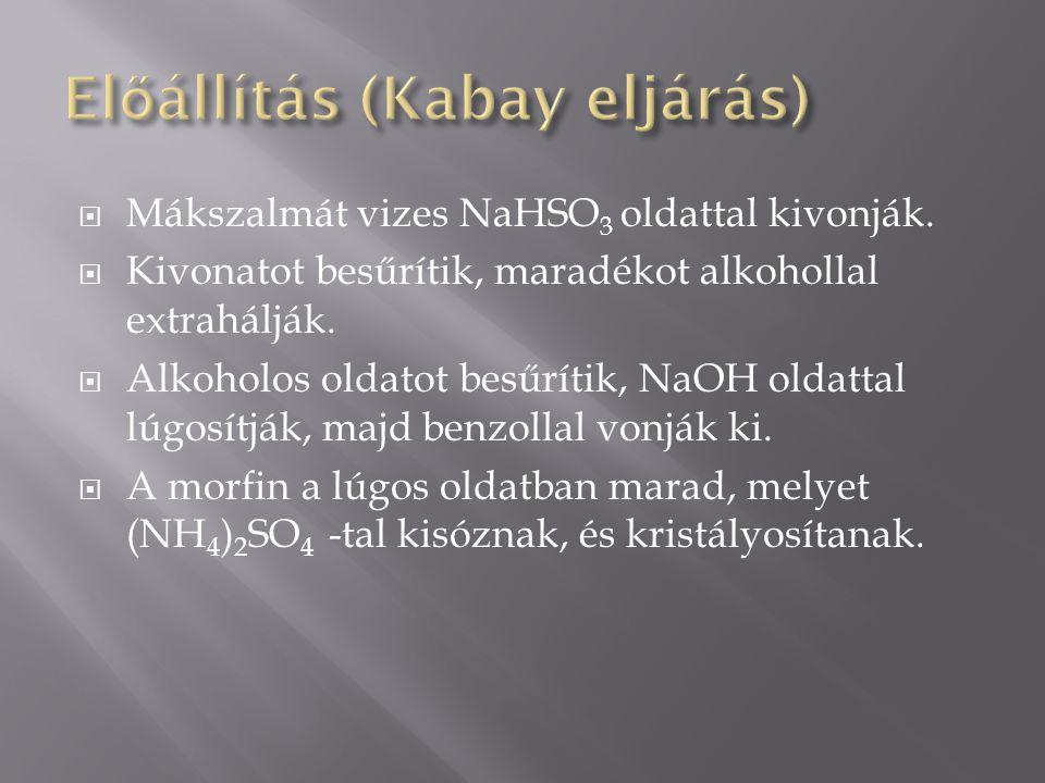  Mákszalmát vizes NaHSO 3 oldattal kivonják.