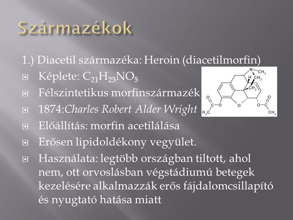 1.) Diacetil származéka: Heroin (diacetilmorfin)  Képlete: C 21 H 23 NO 5  Félszintetikus morfinszármazék  1874: Charles Robert Alder Wright  Előállítás: morfin acetilálása  Erősen lipidoldékony vegyület.