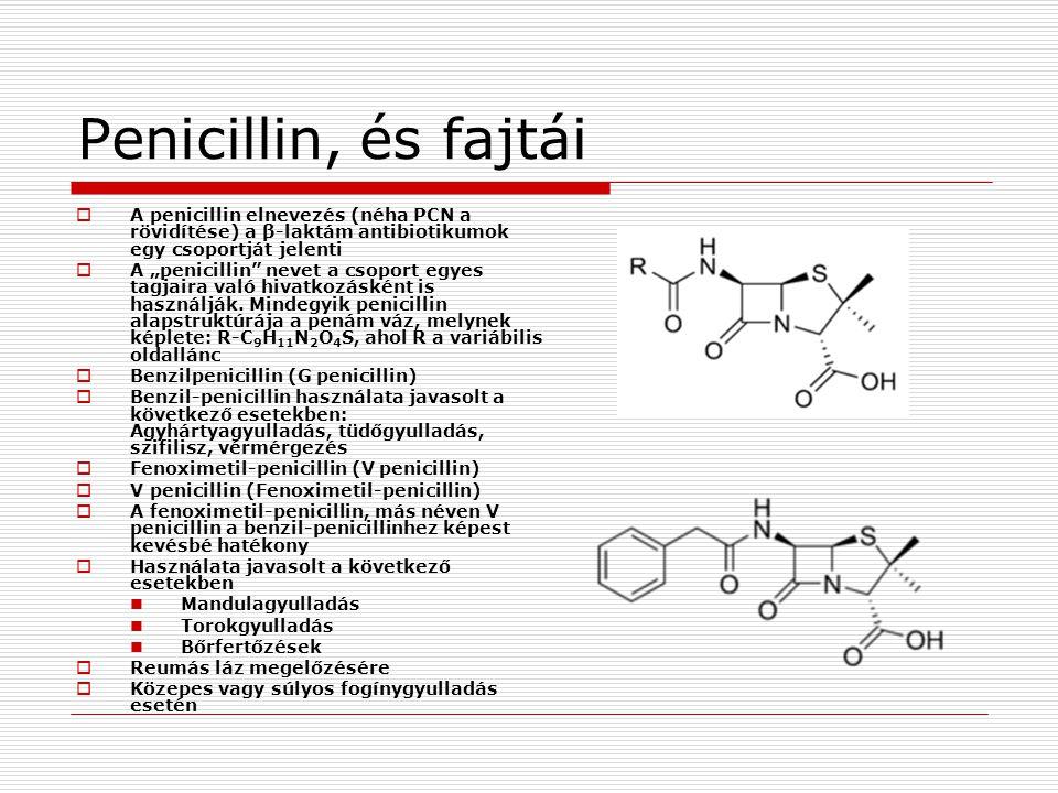 """Penicillin, és fajtái  A penicillin elnevezés (néha PCN a rövidítése) a β-laktám antibiotikumok egy csoportját jelenti  A """"penicillin"""" nevet a csopo"""