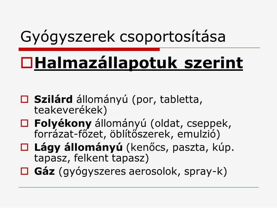 Gyógyszerek csoportosítása  Halmazállapotuk szerint  Szilárd állományú (por, tabletta, teakeverékek)  Folyékony állományú (oldat, cseppek, forrázat