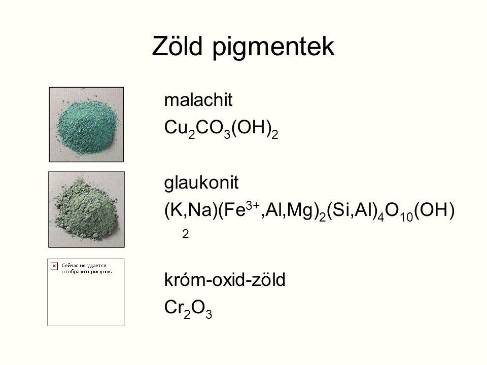 Zöld pigmentek malachit Cu 2 CO 3 (OH) 2 glaukonit (K,Na)(Fe 3+,Al,Mg) 2 (Si,Al) 4 O 10 (OH) 2 króm-oxid-zöld Cr 2 O 3