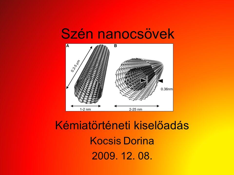 Szén nanocsövek Kémiatörténeti kiselőadás Kocsis Dorina 2009. 12. 08.