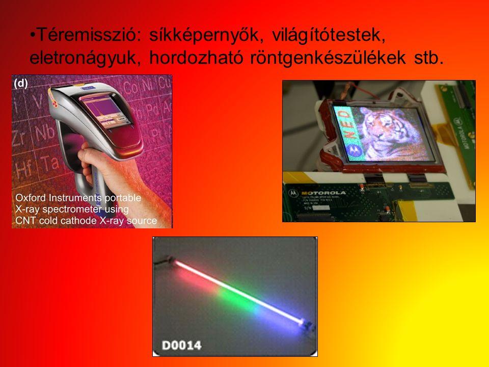 Téremisszió: síkképernyők, világítótestek, eletronágyuk, hordozható röntgenkészülékek stb.