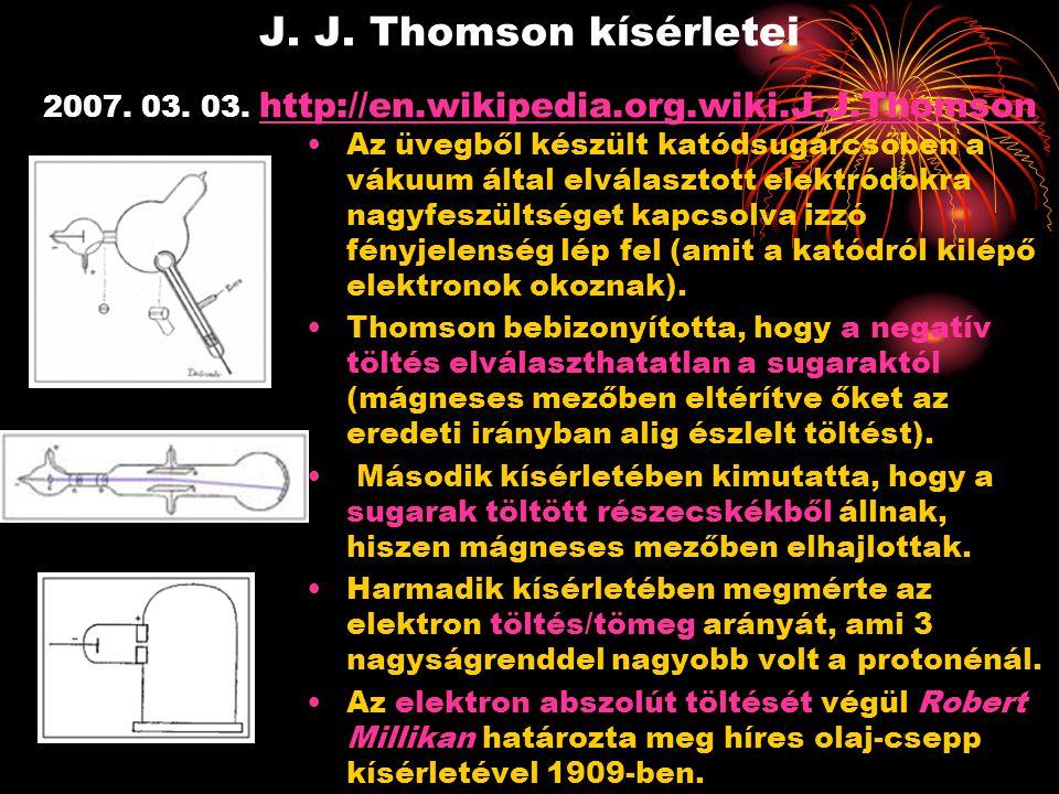 J. J. Thomson kísérletei 2007. 03. 03. http://en.wikipedia.org.wiki.J.J.Thomson http://en.wikipedia.org.wiki.J.J.Thomson Az üvegből készült katódsugár