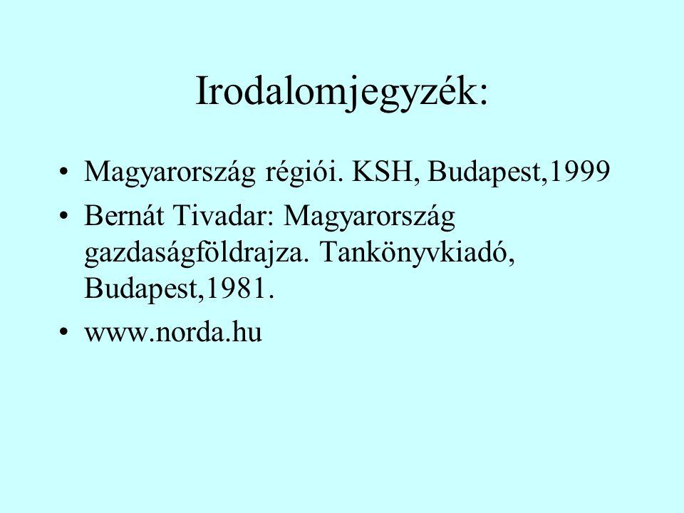Irodalomjegyzék: Magyarország régiói. KSH, Budapest,1999 Bernát Tivadar: Magyarország gazdaságföldrajza. Tankönyvkiadó, Budapest,1981. www.norda.hu
