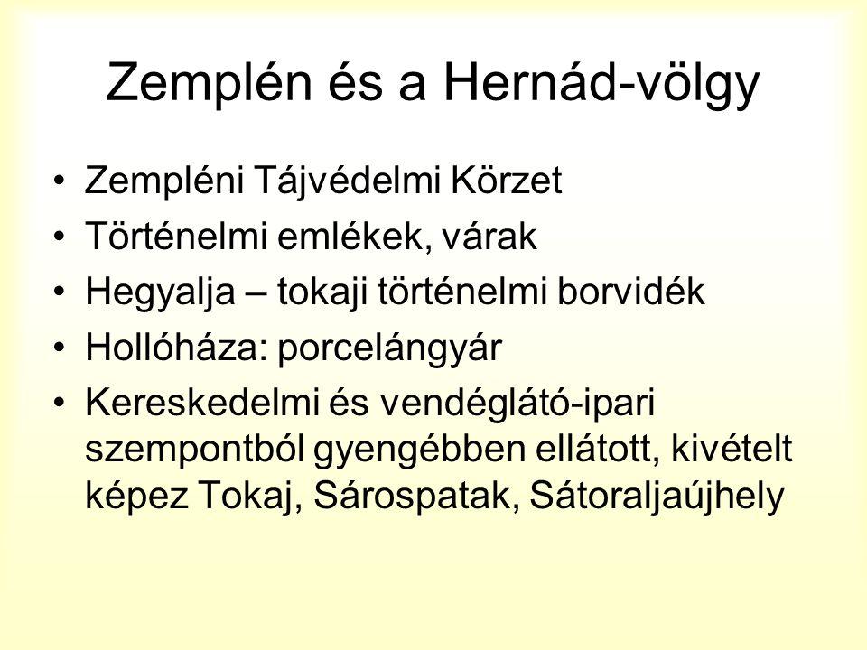Zemplén és a Hernád-völgy Zempléni Tájvédelmi Körzet Történelmi emlékek, várak Hegyalja – tokaji történelmi borvidék Hollóháza: porcelángyár Kereskede