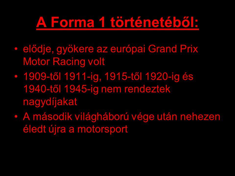 A Forma 1 történetéből: elődje, gyökere az európai Grand Prix Motor Racing volt 1909-től 1911-ig, 1915-től 1920-ig és 1940-től 1945-ig nem rendeztek nagydíjakat A második világháború vége után nehezen éledt újra a motorsport