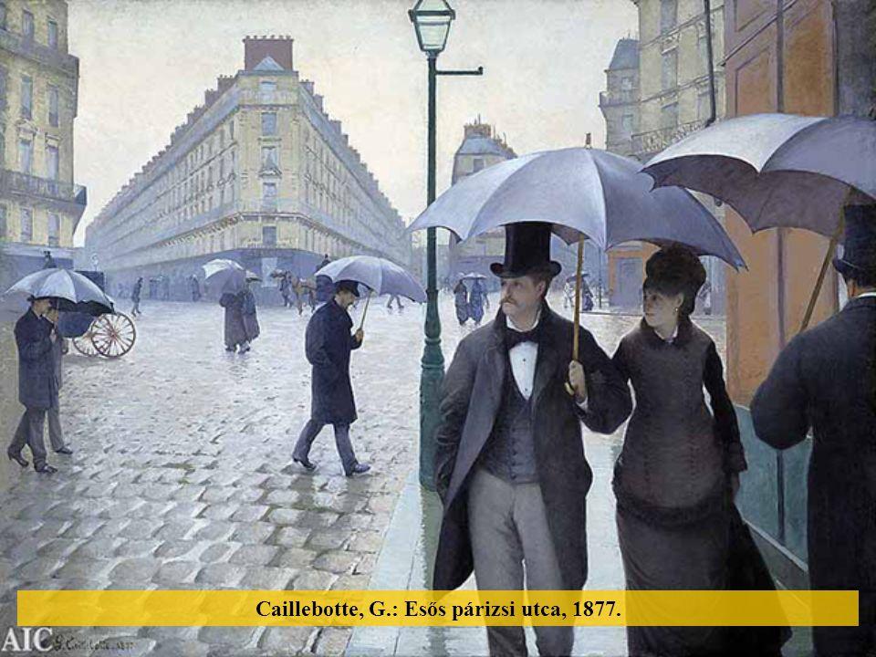 Caillebotte, G.: Esős párizsi utca, 1877.