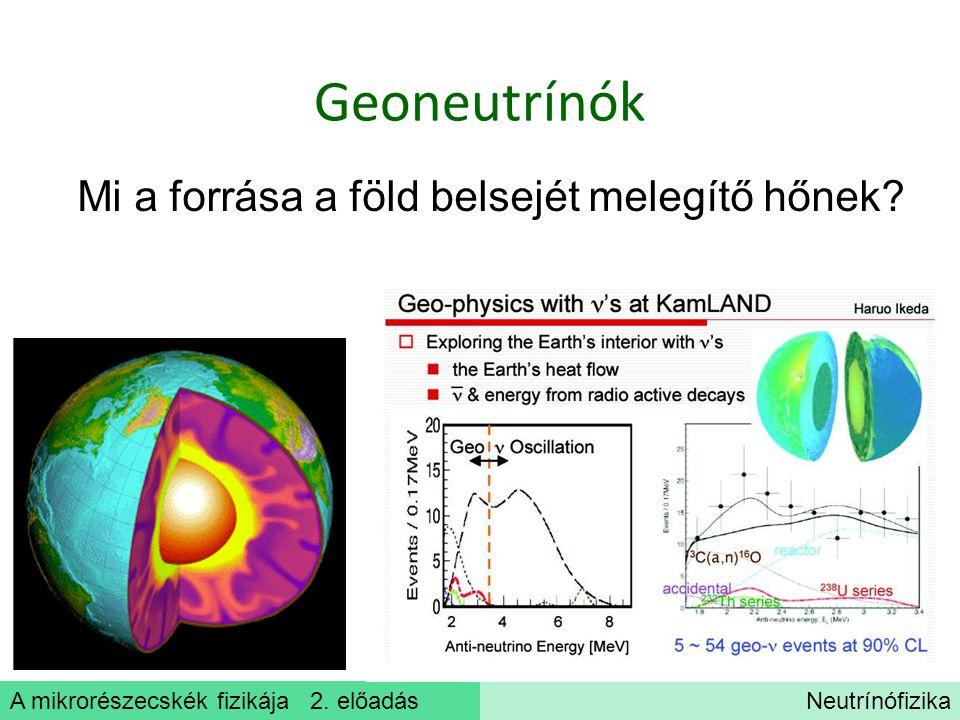A mikrorészecskék fizikája 2. előadásNeutrínófizika Geoneutrínók Mi a forrása a föld belsejét melegítő hőnek?
