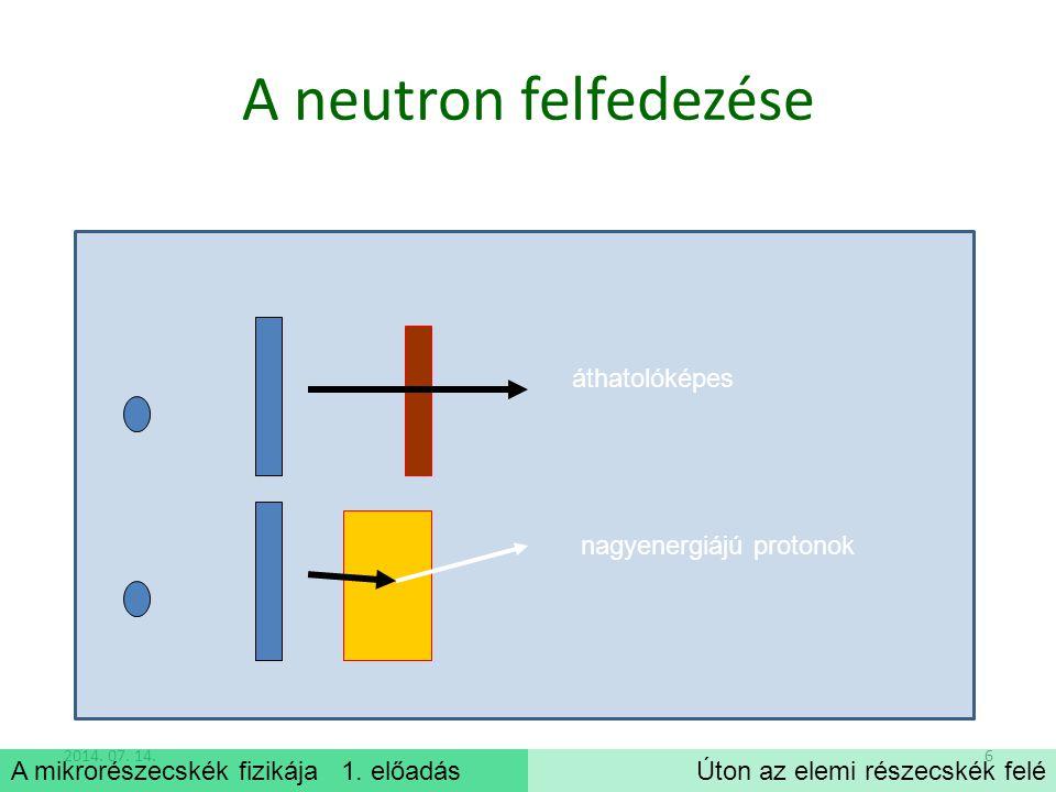 A mikrorészecskék fizikája 1.