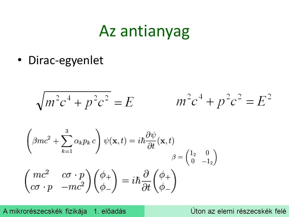 A mikrorészecskék fizikája 1. előadásÚton az elemi részecskék felé Az antianyag Dirac-egyenlet