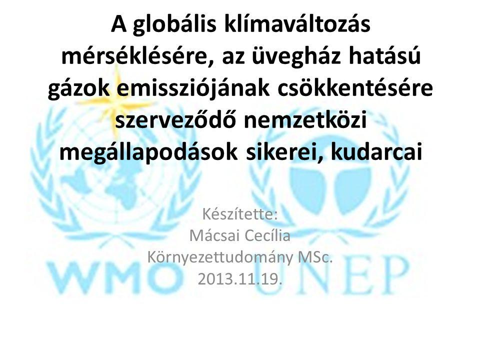 2009, Koppenhága, Dánia: ENSZ Klímakonferencia Cél: a 2012-ben lejáró Kiotói jegyzőkönyv utáni új egyezmény létrehozása Kibocsátások tetőzéséről, konkrét kibocsátás- csökkentési vállalások sincsenek 2016-ban felülvizsgálatok