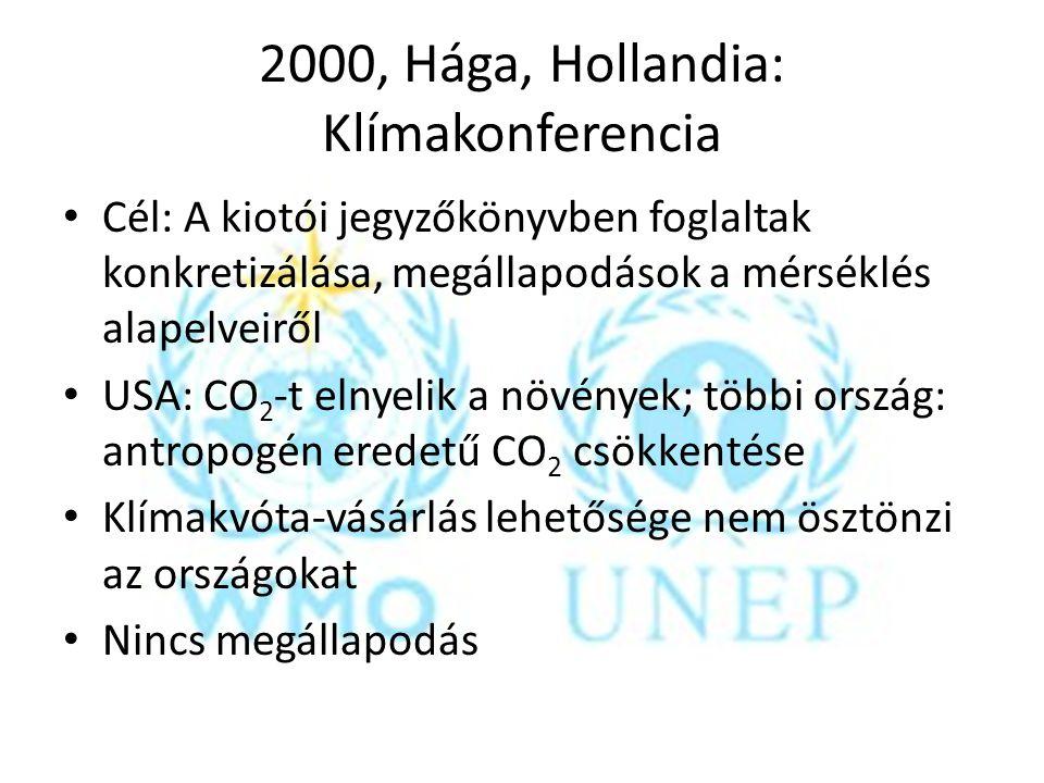 2000, Hága, Hollandia: Klímakonferencia Cél: A kiotói jegyzőkönyvben foglaltak konkretizálása, megállapodások a mérséklés alapelveiről USA: CO 2 -t el