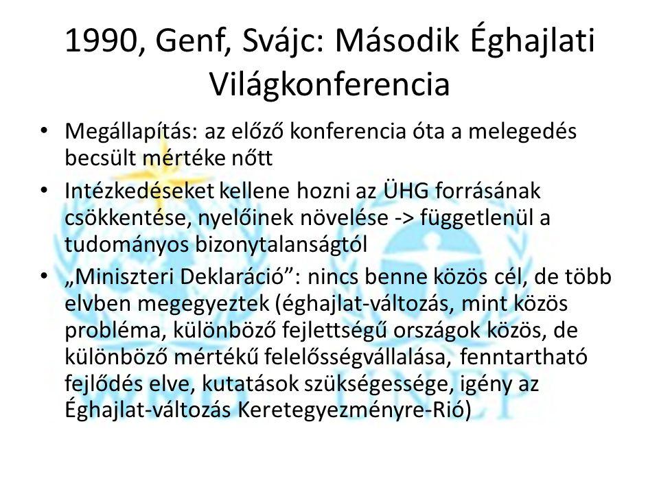 1990, Genf, Svájc: Második Éghajlati Világkonferencia Megállapítás: az előző konferencia óta a melegedés becsült mértéke nőtt Intézkedéseket kellene h