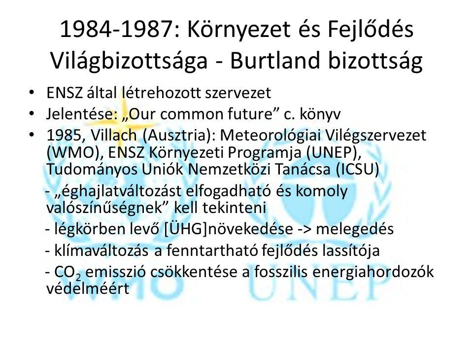 """1987: 4 irányú stratégia: jelenségek megfigyelése, vizsgálata, ÜHG csökkentéséről irányelvek, veszélyek elleni stratégiák elfogadása 2 világkonferencia: (`88: Torontó, `90: Genf) energiapolitikák kidolgozása, amik csökkentik a légkörbe jutó CO 2 mennyiségét; """"elővigyázatosság elve a döntéshozóknak"""