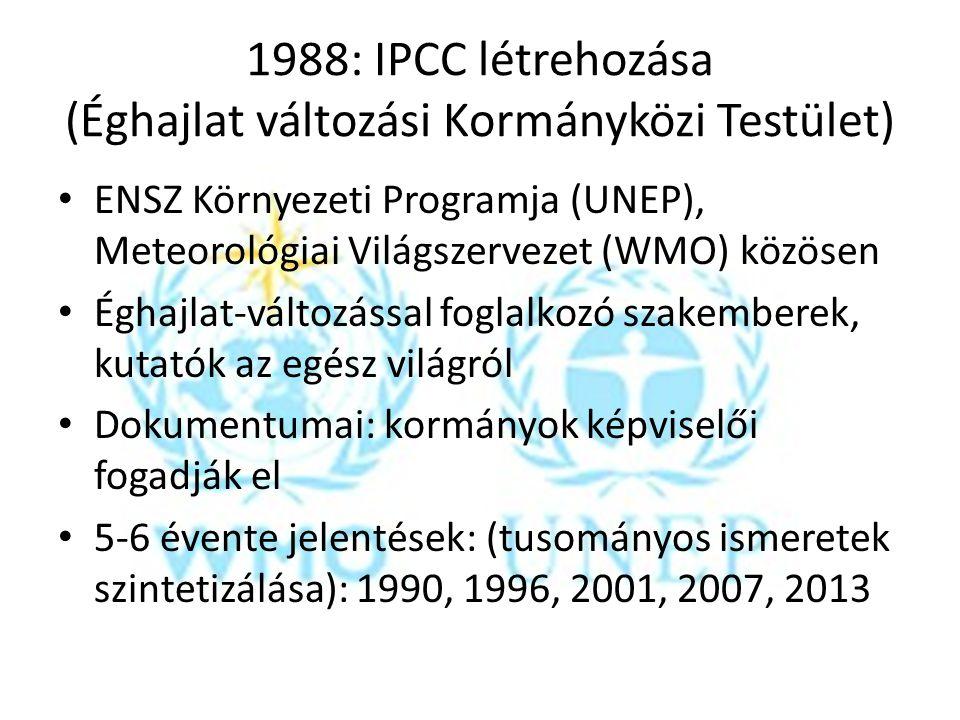 1988: IPCC létrehozása (Éghajlat változási Kormányközi Testület) ENSZ Környezeti Programja (UNEP), Meteorológiai Világszervezet (WMO) közösen Éghajlat