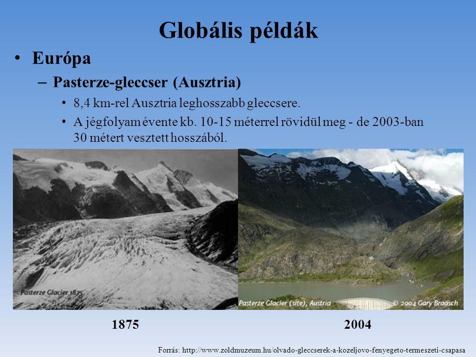 Globális példák Európa – Pasterze-gleccser (Ausztria) 8,4 km-rel Ausztria leghosszabb gleccsere. A jégfolyam évente kb. 10-15 méterrel rövidül meg - d