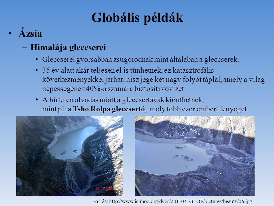 Globális példák Ázsia – Himalája gleccserei Gleccserei gyorsabban zsugorodnak mint általában a gleccserek. 35 év alatt akár teljesen el is tűnhetnek,