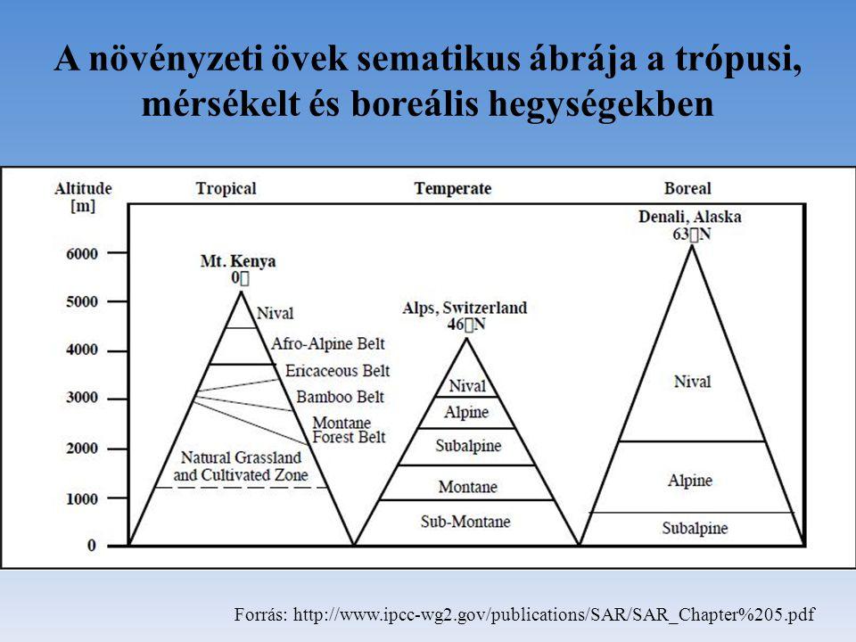 A növényzeti övek sematikus ábrája a trópusi, mérsékelt és boreális hegységekben Forrás: http://www.ipcc-wg2.gov/publications/SAR/SAR_Chapter%205.pdf