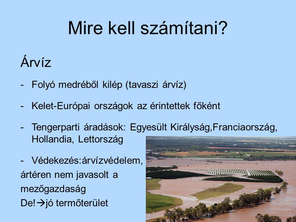 Mire kell számítani? Árvíz -Folyó medréből kilép (tavaszi árvíz) -Kelet-Európai országok az érintettek főként -Tengerparti áradások: Egyesült Királysá