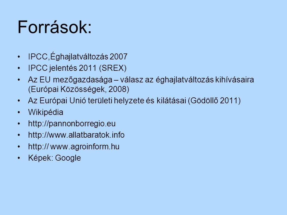 Források: IPCC,Éghajlatváltozás 2007 IPCC jelentés 2011 (SREX) Az EU mezőgazdasága – válasz az éghajlatváltozás kihívásaira (Európai Közösségek, 2008)