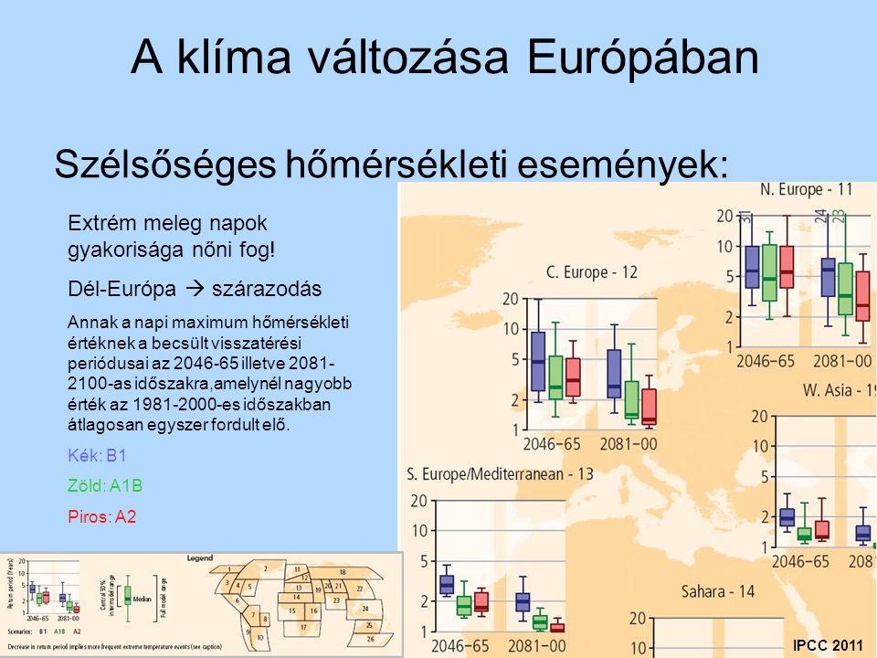 A klíma változása Európában Szélsőséges hőmérsékleti események: IPCC 2011 Extrém meleg napok gyakorisága nőni fog! Dél-Európa  szárazodás Annak a nap