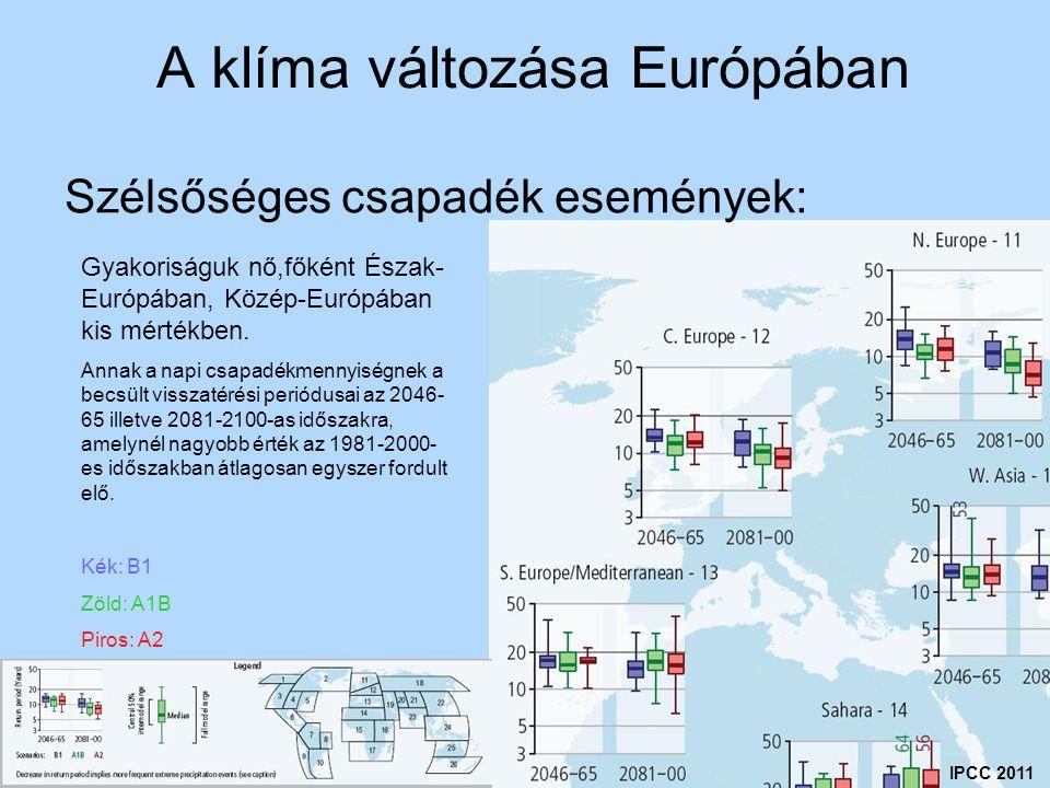 A klíma változása Európában Szélsőséges csapadék események: IPCC 2011 Gyakoriságuk nő,főként Észak- Európában, Közép-Európában kis mértékben. Annak a