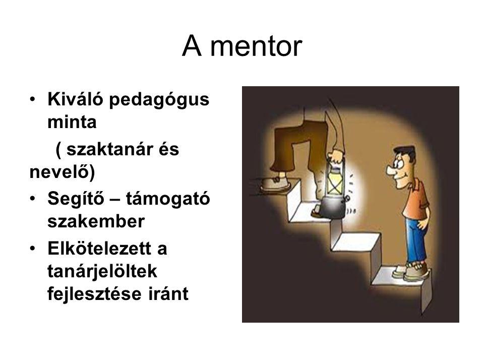 A mentor Kiváló pedagógus minta ( szaktanár és nevelő) Segítő – támogató szakember Elkötelezett a tanárjelöltek fejlesztése iránt