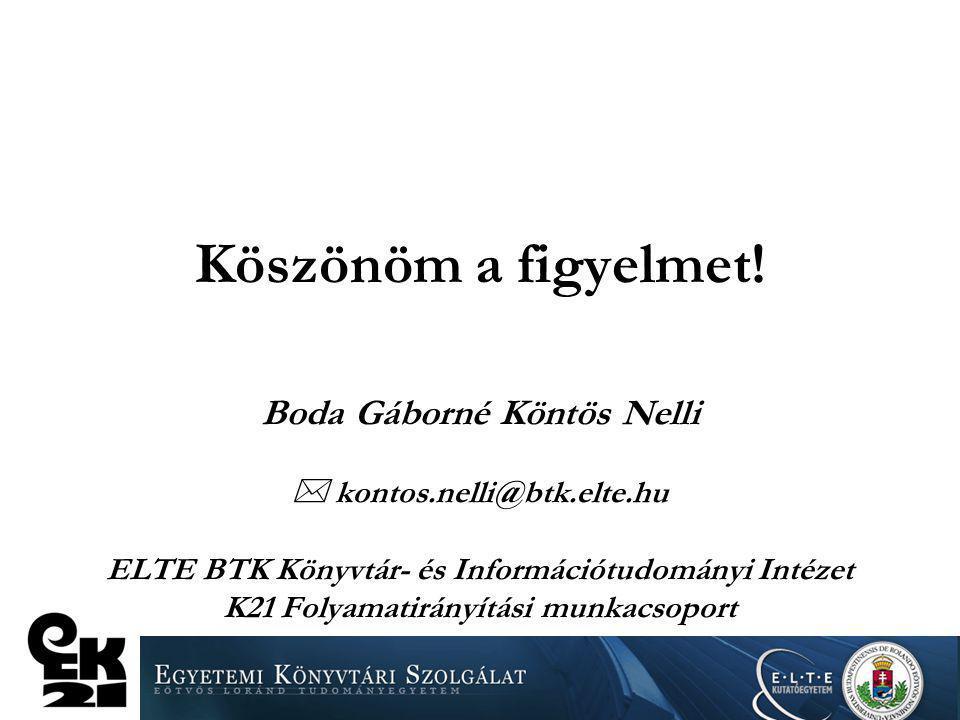 Köszönöm a figyelmet! Boda Gáborné Köntös Nelli  kontos.nelli@btk.elte.hu ELTE BTK Könyvtár- és Információtudományi Intézet K21 Folyamatirányítási mu