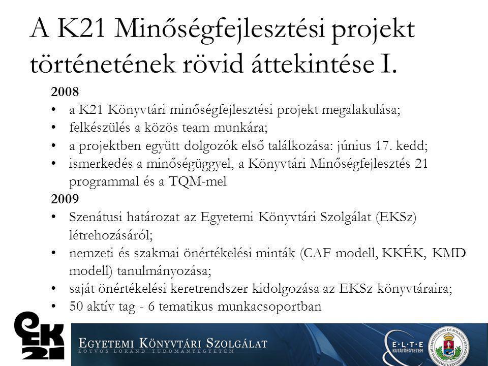 A K21 Minőségfejlesztési projekt történetének rövid áttekintése I. 2008 a K21 Könyvtári minőségfejlesztési projekt megalakulása; felkészülés a közös t