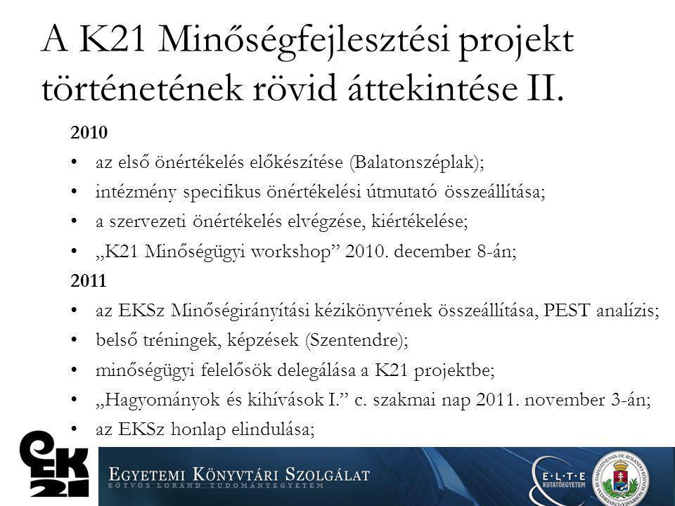 A K21 Minőségfejlesztési projekt történetének rövid áttekintése II. 2010 az első önértékelés előkészítése (Balatonszéplak); intézmény specifikus önért