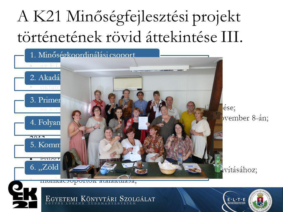 A K21 Minőségfejlesztési projekt történetének rövid áttekintése III. 2012 az ELTE Rektori Hivatal Minőségbiztosítási Osztálya minőségbiztosítási szaké