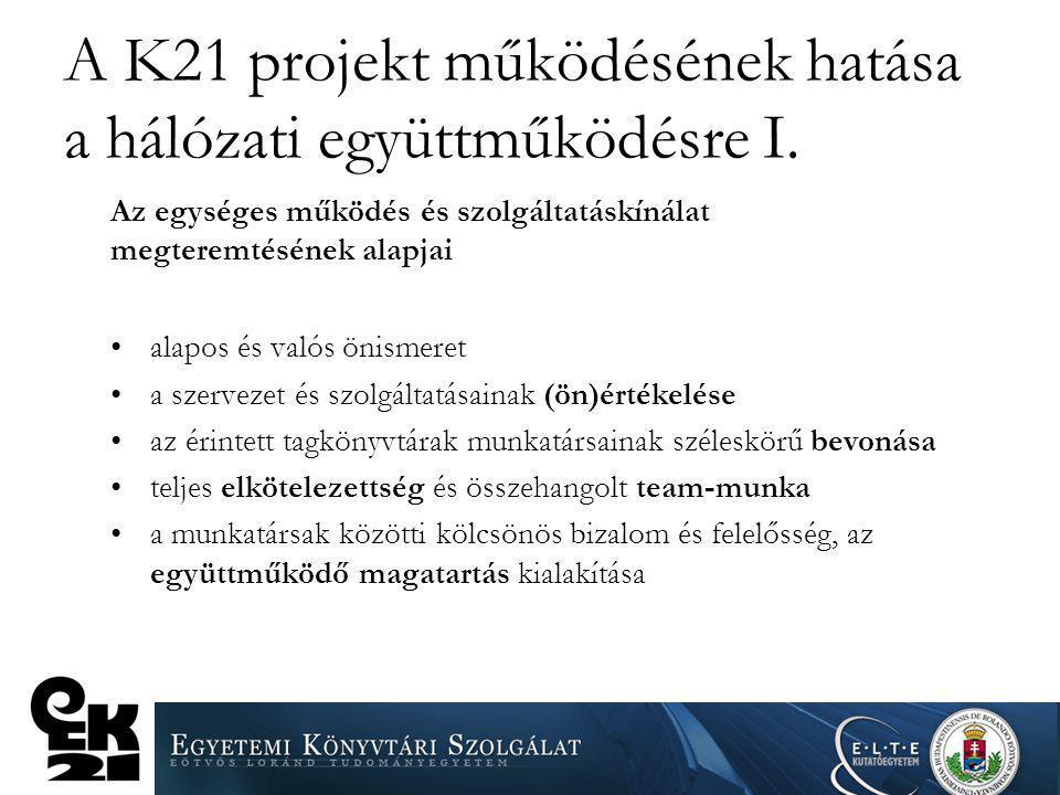 A K21 projekt működésének hatása a hálózati együttműködésre I. Az egységes működés és szolgáltatáskínálat megteremtésének alapjai alapos és valós önis