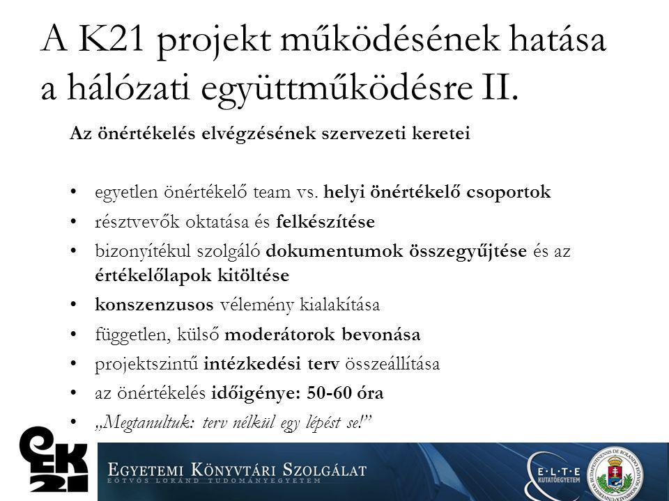 A K21 projekt működésének hatása a hálózati együttműködésre II. Az önértékelés elvégzésének szervezeti keretei egyetlen önértékelő team vs. helyi önér