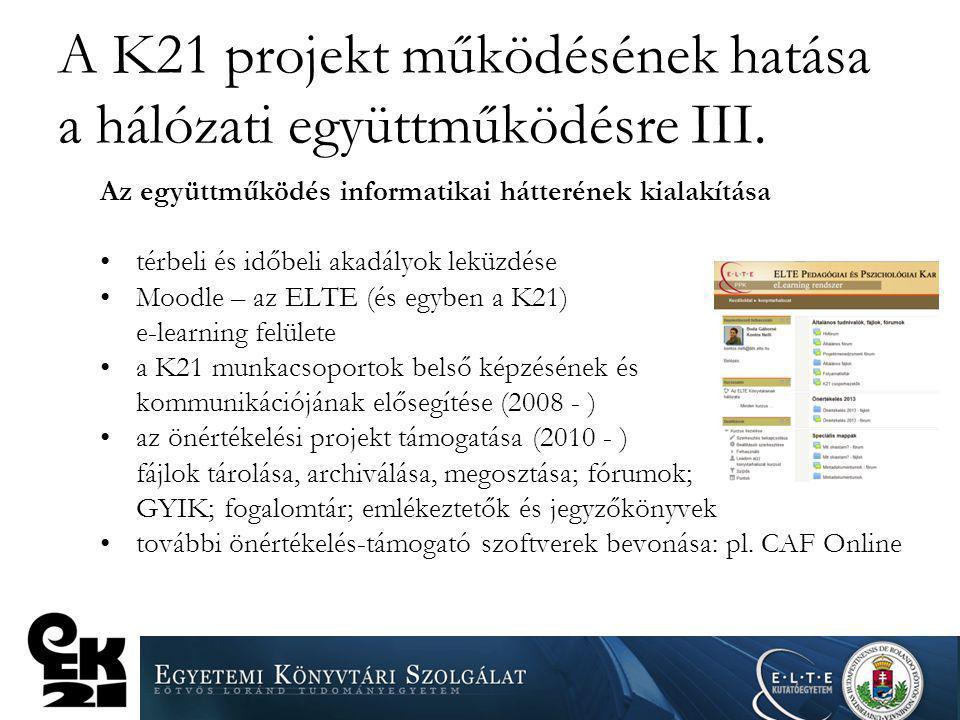 A K21 projekt működésének hatása a hálózati együttműködésre III. Az együttműködés informatikai hátterének kialakítása térbeli és időbeli akadályok lek