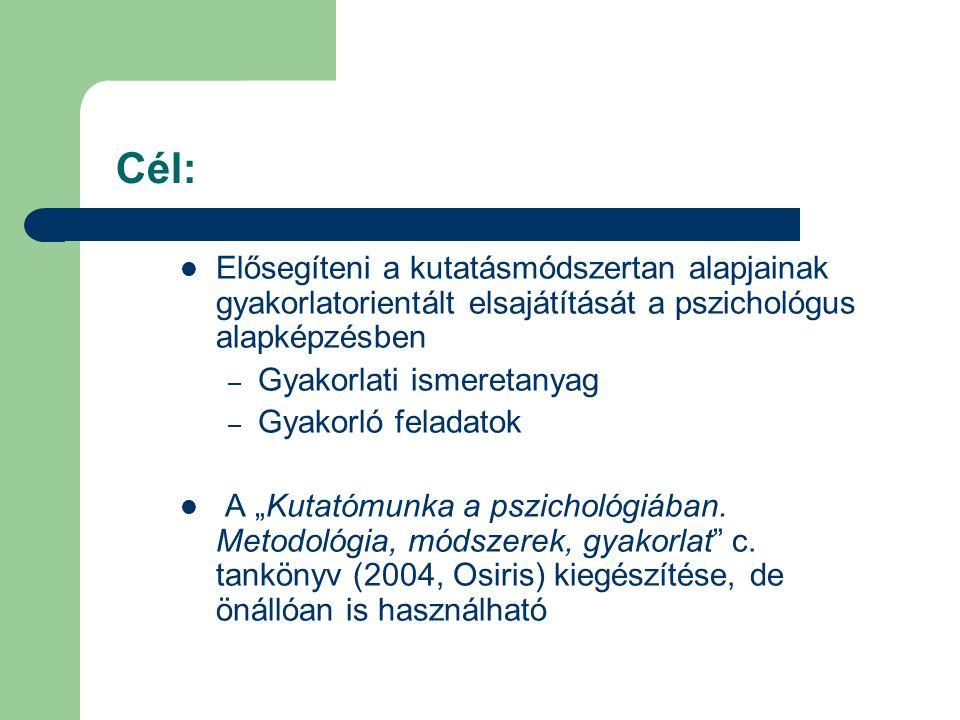 Cél: Elősegíteni a kutatásmódszertan alapjainak gyakorlatorientált elsajátítását a pszichológus alapképzésben – Gyakorlati ismeretanyag – Gyakorló fel