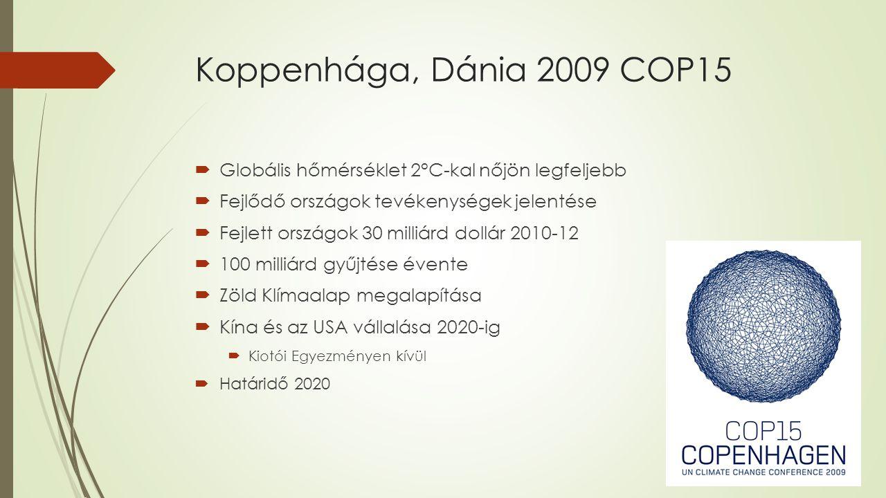 Cancún, Mexikó 2010 COP16  Fejlett országokat felkérik:  Koppenhágai Egyezségben tett ígéretek teljesítésére  Csökkentési programok kidolgozására  Zöld Klímaalap tárgyalások  éves javasolt értéke 100 milliárd dollár lenne 2020-ig