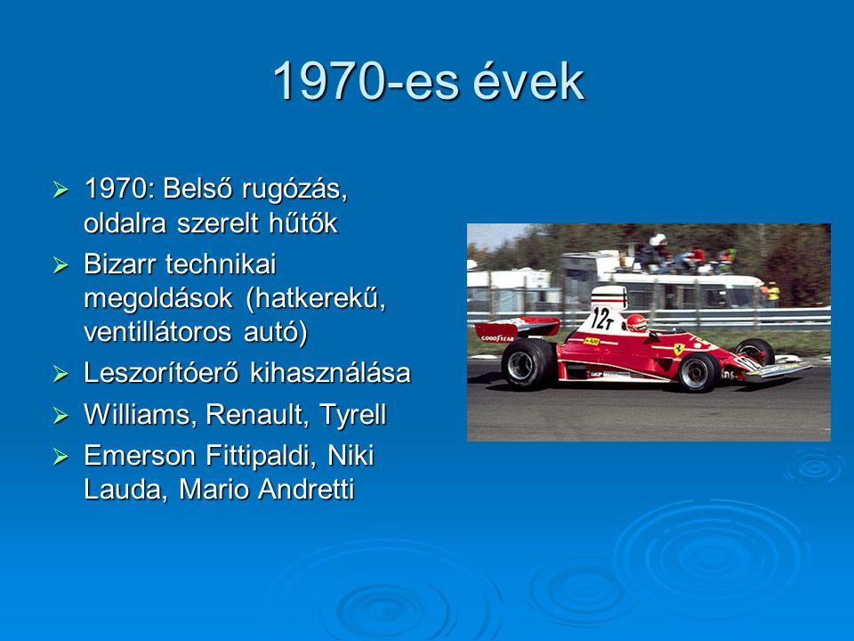 1980-as évek  1982: Szénszálas kocsitest  1985: Rádiós kommunikáció a boxutcával  Turbómotorok elterjedése (több mint 1000 lóerős teljesítmény)  Benetton, Minardi  Nelson Piquet, Alain Prost, Ayrton Senna