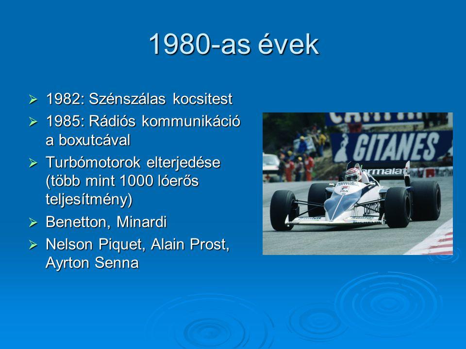 1980-as évek  1982: Szénszálas kocsitest  1985: Rádiós kommunikáció a boxutcával  Turbómotorok elterjedése (több mint 1000 lóerős teljesítmény)  B