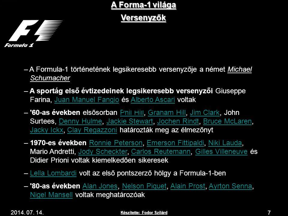 Készítette: Fodor Szilárd 2014. 07. 14. A Forma-1 világa 7 Versenyzők – A Formula-1 történetének legsikeresebb versenyzője a német Michael Schumacher